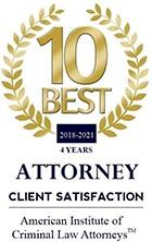 American Institute of Criminal Law Attorneys 10 Best Client Satisfaction 2018-2020